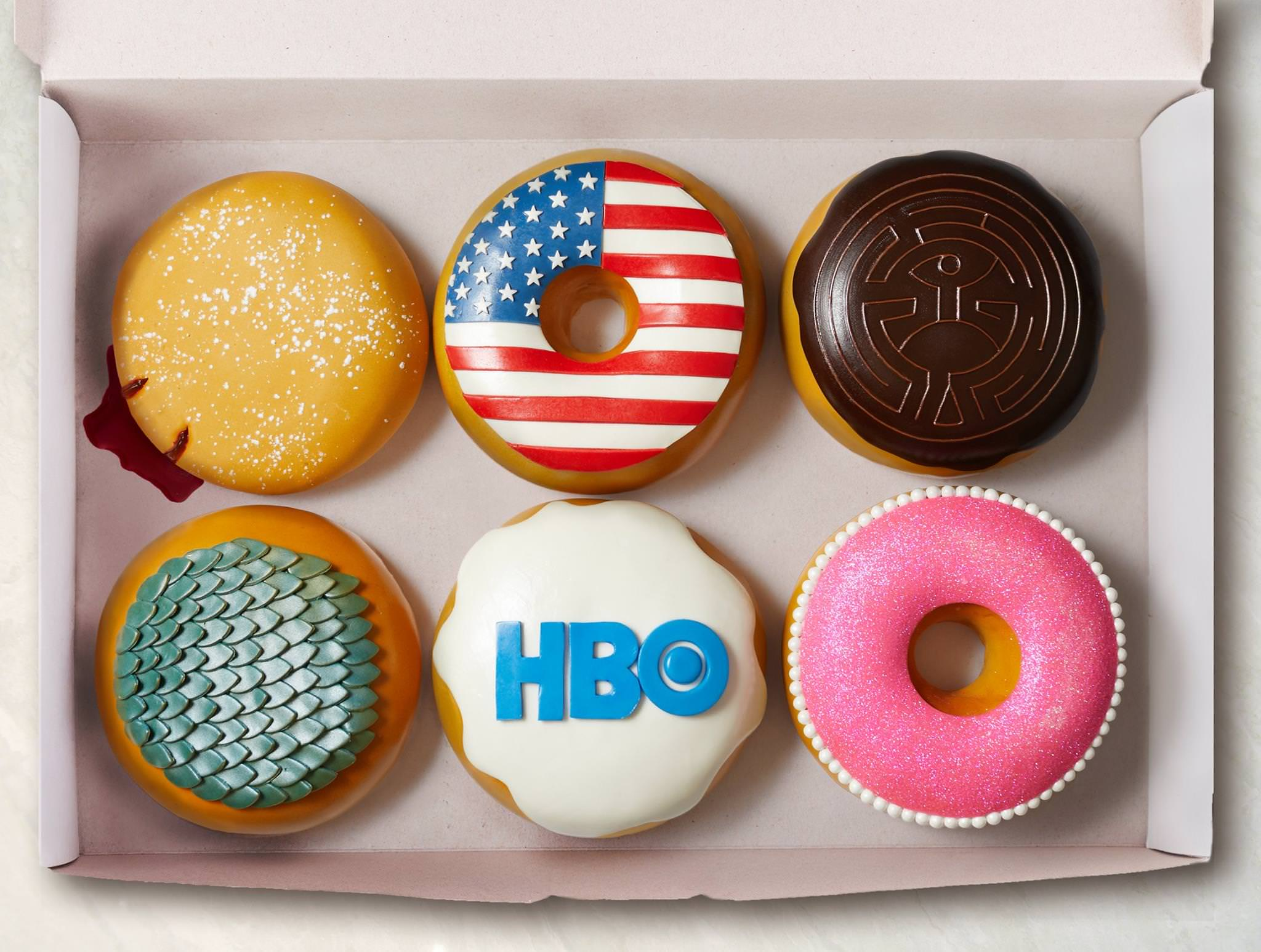 "Donuts that say ""HBO"""