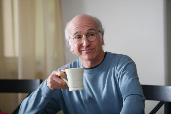 Larry David drinking coffee