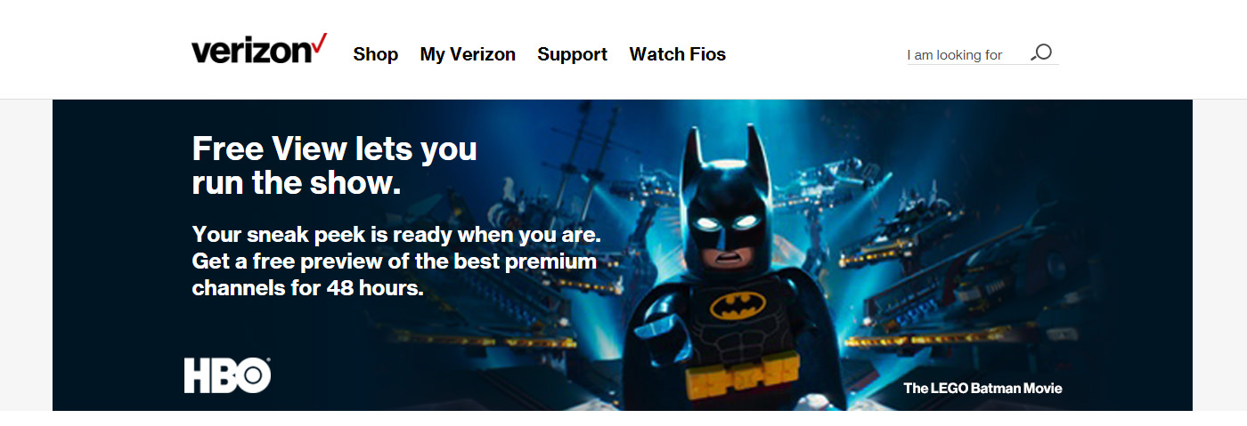Verizon FIOS Free View banner