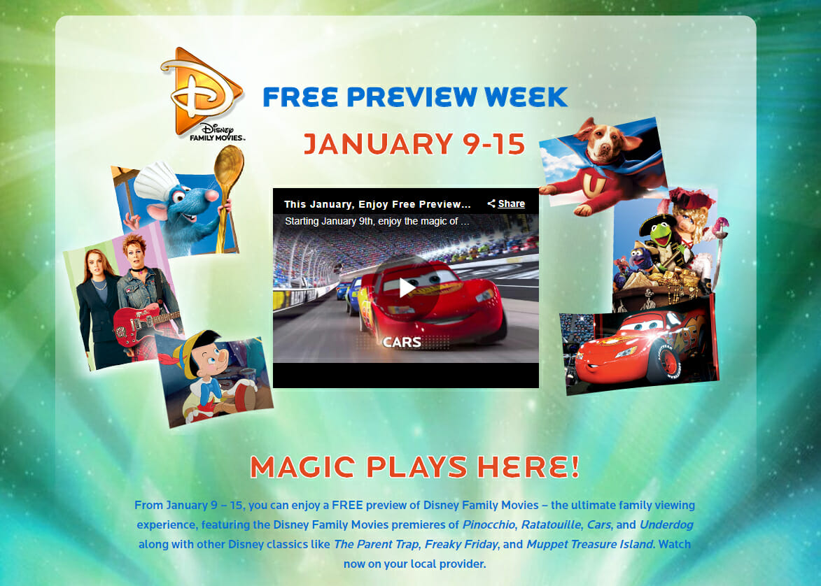 Disney Family Movies free preview week promo