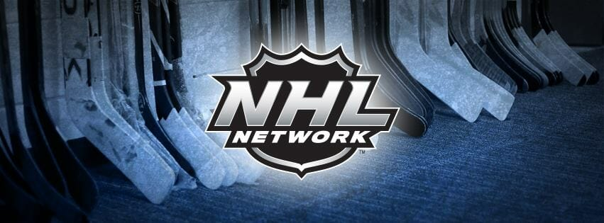 The NHL Network logo in front of hockey sticks