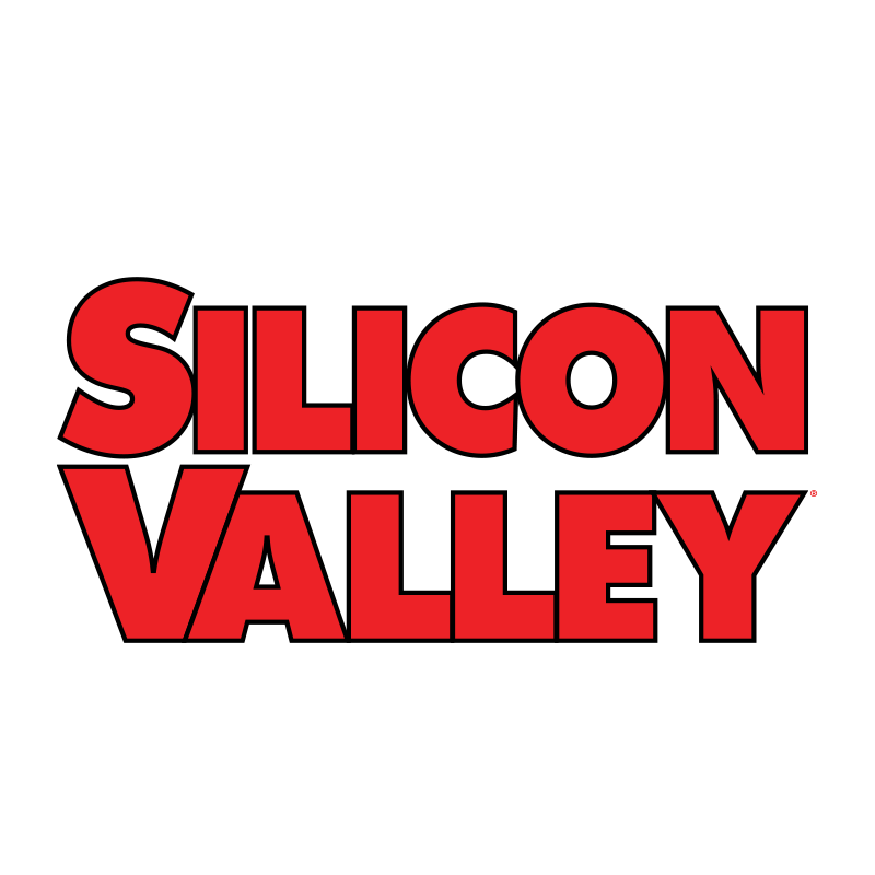 """Silicon Valley"" red text on a white background"
