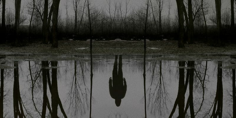 A shadowy figure standing in front of a pond